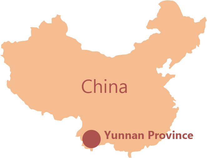 Map of China showing the location of Yunnan Province
